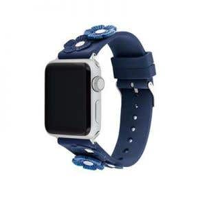 Apple Navy Silicon Strap And Peged With Tea Roses