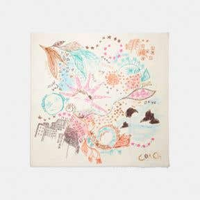 EMBROIDERED DREAM DOODLE PRINT OVERSIZED SQUARE SCARF
