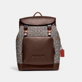 League Flap Backpack In Signature Jacquard