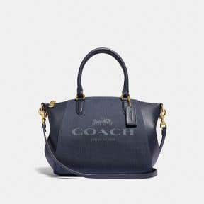 Elise Satchel With Horse And Carriage Print
