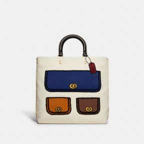 Tote 29 In Recycled Canvas With Trompe Loeil Print